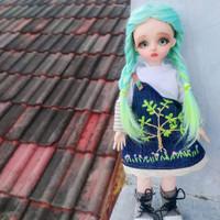 baju overall boneka.. ukuran bjd yosd ..doll 30cm