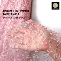 1/2 meter Kain Brokat Tile Prancis Bahan Kebaya Motif Akar Soft Pink