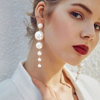 anting panjang mutiara simple long pearl earrings jan216