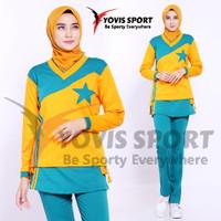 Setelan Senam rok wanita olahraga panjang/ Setelan baju senam hijab