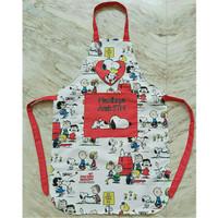 Apron Celemek Masak Anak dan Dewasa Motif Snoopy Custom Nama