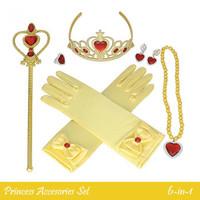 Tongkat Mahkota Tiara Aksesoris Kostum Princess Anak - 6in1 - Kuning