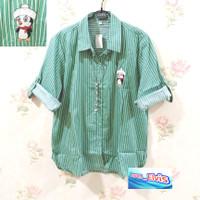 Kemeja / Shirt / Wanita / Denim / Hijau / Bordir Sepeda