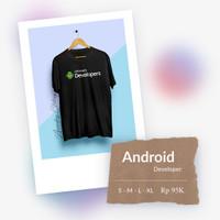 Baju Kaos TShirt Android developer. Bahan Cotton Combed 30s. Plastisol