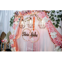 Dekorasi Lamaran Akad Wedding Hexagonal Rustic Backdrop Photobooth