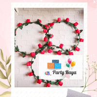 Bando bunga / mahkota flower crown merah/ bando lingkar