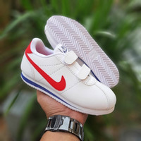 Sepatu anak casual NIKE CORTEZ KIDS / White Red / strap / bnib