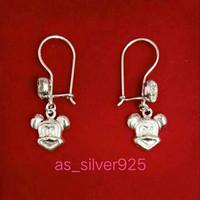 Anting perak925 Mickey Mouse lapis mas putih asli silver925 import