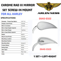 ARLEN NESS CHROME MIRROR SET LEFT+RIGHT 0640-0322 + 0640-0323