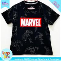 Baju / Kaos Anak Murah Lengan Pendek Logokids Marvel Black 1-10 Tahun