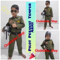 Baju Seragam Setelan Anak Kostum Pilot Pesawat Tempur Army Helm Bogo