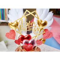 Topper Hiasan Kue Ulang Tahun Tulisan Happy Birthday Cake Topper