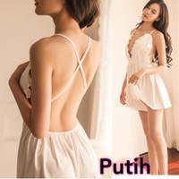 Lingerie Sexy Baju Gaun Tidur Seksi Satin Premium Wanita S M L XL