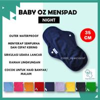 ORIGINAL Baby Oz Menspad Night 35 cm Polos/ Pembalut Wanita Cuci Ulang - Black