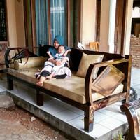 bangku jati retro+bantalan oscar/balebale jati/kursi sofa jati vintage