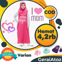 Pakaian Baju Gamis Anak Perempuan cewe lucu set kerudung Muslim Dakwah