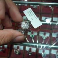 Cincin Hello Kitty HK Spiral Emas Putih Kadar Tua 75% size 14