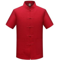 baju cheongsam kemeja atasan pria putih polos size M-XL