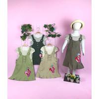 Baju Fashion Perempuan Dress Anak Kaos Garis Overall Motif Sendal