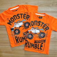 Baju Kaos Atasan Anak Laki Laki Cowok Mobil Monster Truck Orange