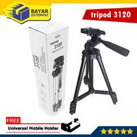 Tripod 3120 Handphone Kamera Camera HP Free Holder 1 Meter Black