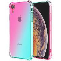 Shock Gradient Case iPhone XR - Rainbow Clear Cover Anti Crack Premium