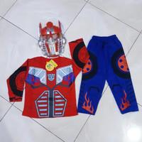 Setelan Baju Celana Topeng Optimus Prime Kostum Anak Kaos Transformers