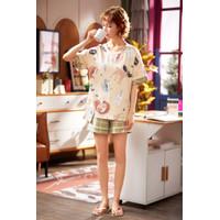 Baju Tidur Wanita Celana Pendek Piyama Wanita cotton 100% - 82079 - XL