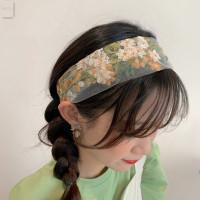 Bandana wanita korea bando bunga bordir kain cantik abelia headband