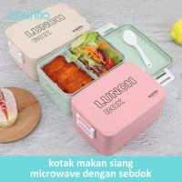 ecentio Kotak Makan Siang Jerami Gandum Desain Tingkat 1000 ml