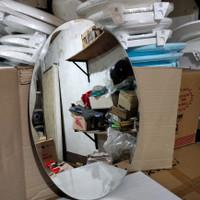 Kaca cermin oval ukir tebal 4 mm