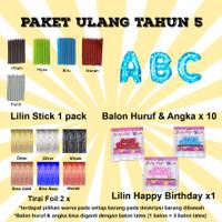 Paket Ulang Tahun 5 / Paket Balon Ultah 5 / Paket Balon Huruf & Angka