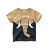 Kaos T-Shirt Katun Anak Unisex Lengan Pendek Gambar Gajah Warna Coklat
