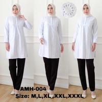 Baju atasan tunik putih wanita muslim kantor kerja