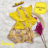 kebaya anak batik bayi baju batik anak perempuan peplum pita kuning