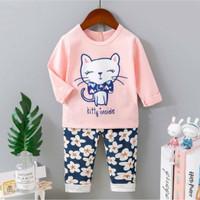 Piyama import / Baju tidur anak perempuan Cat umur 1 - 10 tahun.