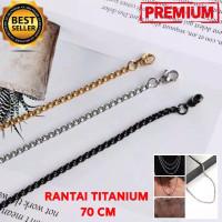 Upgrade panjang kalung rantai titanium 70 cm pria - gold 60