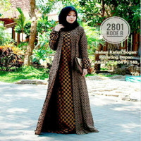 Gamis Batik Murah Baju Muslimah Wanita All Size Bahan Katun Prom - Tenun, All Size LD 108