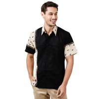 S M L XL Kemeja Hem Baju Batik Pria Cowok Lengan Pendek Batik Nulaba - Putih, M