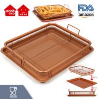 Copper Crisper Tray/ Oil Frying Baking Pan Non Stick/ Oven Air fryer