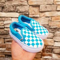 sepatu vans slip on checkerboard anak warna biru muda