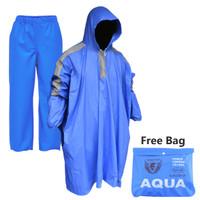 Jas Hujan Ponco Lengan Celana Set Spartan Aqua Bahan PVC Motif
