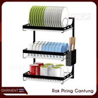 Rak Piring Gantung Tempel Dinding Stainless Steel Hitam Kuat Premium