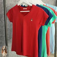 Hush puppies original tee shirt kaos v neck cewe wanita peach red navy