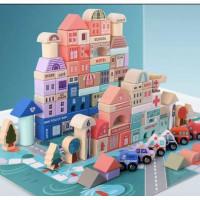Mainan Edukasi Anak Wooden City Block Building Balok Susun Kayu