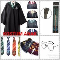 Paket Kostum ANAK Harry Potter: Jubah+Dasi+Syal+Tongkat+Kacamata