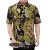 Baju kemeja batik pria lengan pendek Batik Tulis lapis Furing