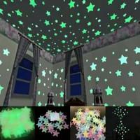 Isi 100 pcs - Stiker bintang glow in the dark / star wall sticker
