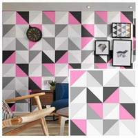 WALLPAPER STIKER DINDING MOTIF SEGITIGA PINK AND GREY NEW ARRIVAL