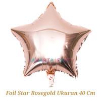 Balon Foil Bintang Rose Gold / Balon Foil Star / Balon Bintang